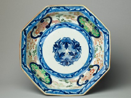 Octagonal plate with flowers and shishi, or lion dogstop