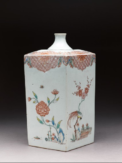 Square bottle with Dutch decoration of flowers, birds, and insectsside