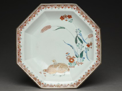 Octagonal dish with quails and millettop