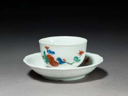 Cup and saucer with chrysanthemum spraysoblique, cup and saucer