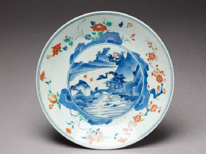 Plate with river scenetop