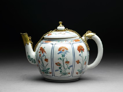 Teapot with European mountsside