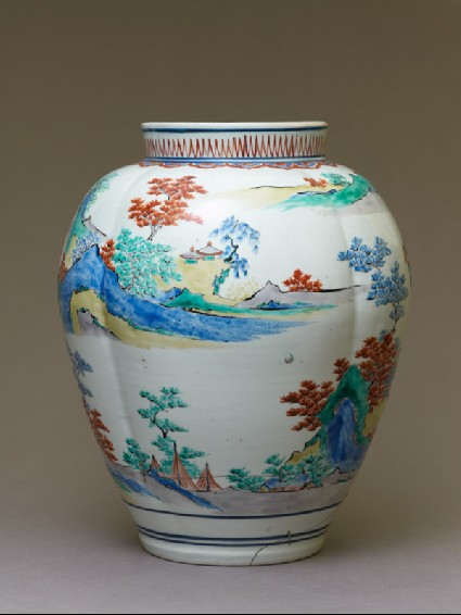 Lobed baluster jar with pavilions and temples in a landscapeside