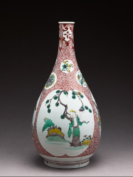 Bottle with three cartouches, each depicting a sage by a treeside