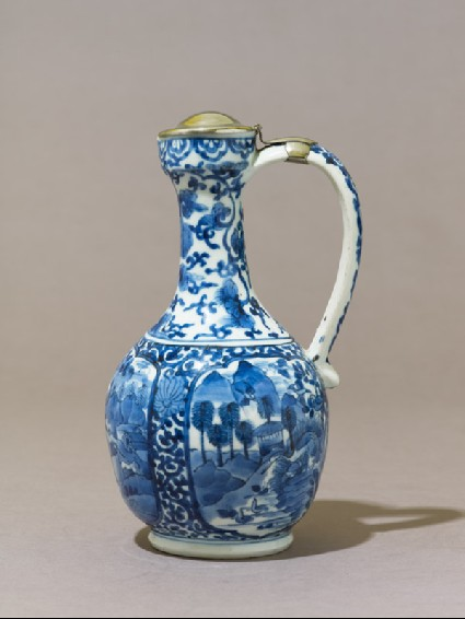 Jug with three cartouches depicting landscapesside