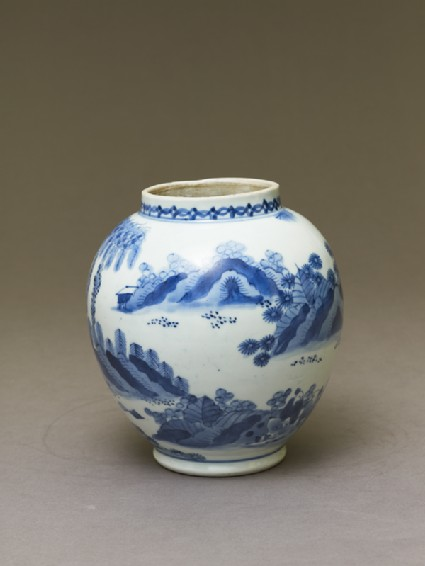 Jar with figures in a landscapeoblique