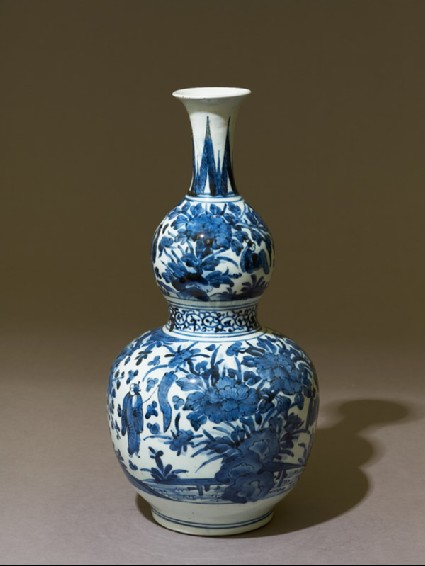 Vase in double-gourd form with figures in a landscapeoblique