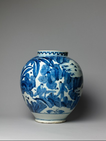 Jar with figures in a landscapeside