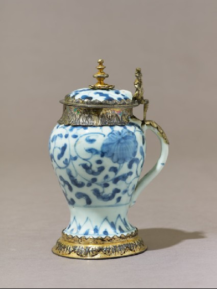 Mustard pot with European mountsside