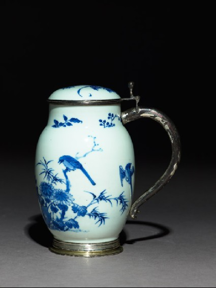 Blue-and-white tankard with European silver mountsside