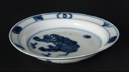 Blue-and-white dish with elephantfront
