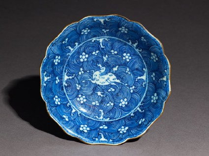Blue-and-white dish with leaping horsetop