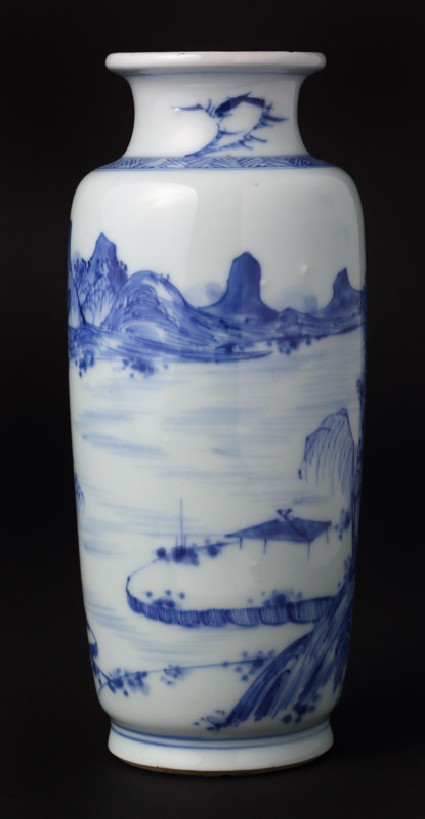 Blue-and-white vase with landscapefront