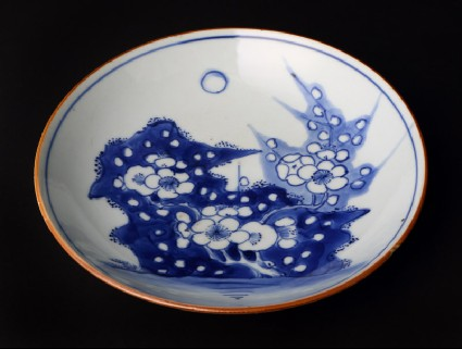 Blue-and-white dish with Prunus sprayfront
