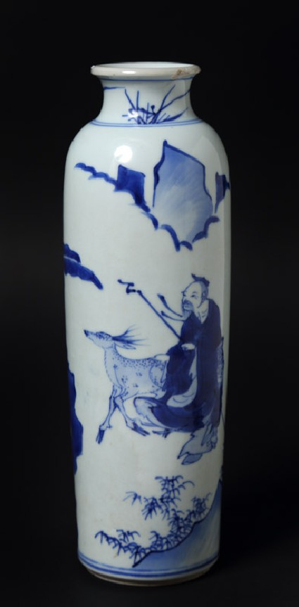 Blue-and-white vase with figures and deer in a landscapefront