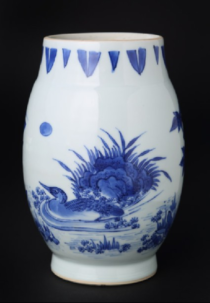 Blue-and-white jar with duck and heronfront