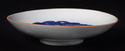 Blue-and-white dish with leaf and rockfront