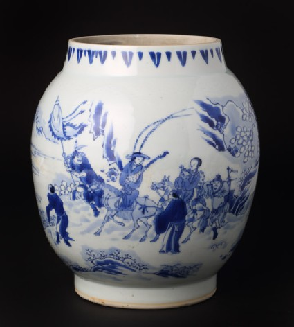 Blue-and-white jar with figures in a snowy landscapefront
