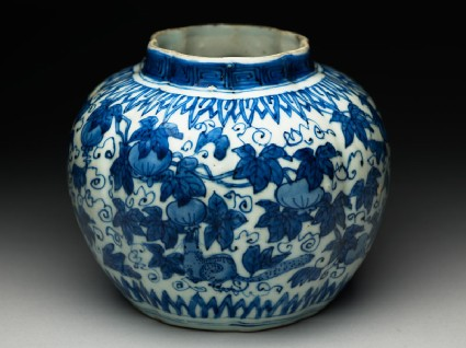 Blue-and-white jar with animals eating fruitoblique