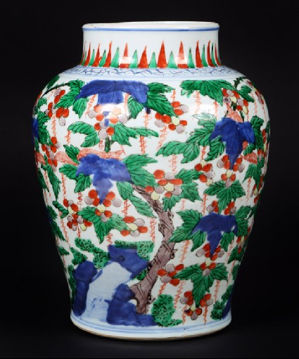 Jar with vines and tree shrewsfront