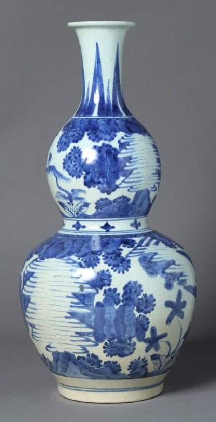 Bottle in double-gourd shape with landscapefront