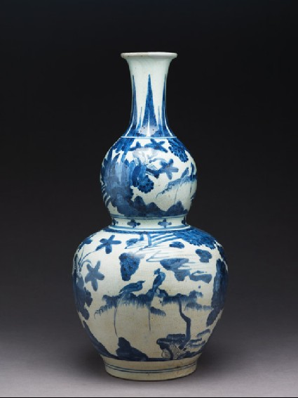 Bottle in double-gourd shape with landscapeside