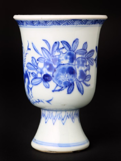 Blue-and-white stem cup with pomegranates and bamboofront