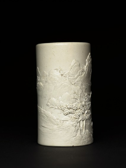 Brush pot with mountainous landscapeside