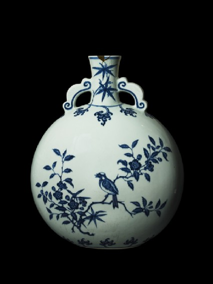 Large pilgrim bottle with birds in treesside