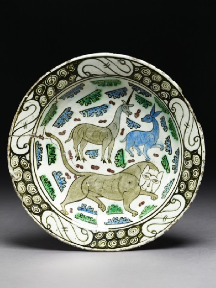 Dish with lion, unicorn, and stagtop
