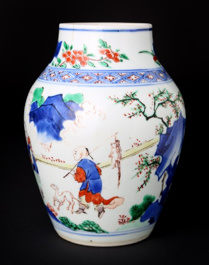 Jar with figure and a horse in a landscapefront