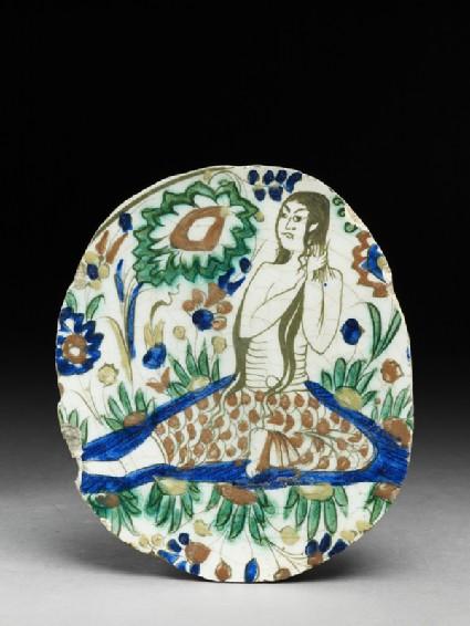 Base fragment of a dish depicting a woman combing her hairtop