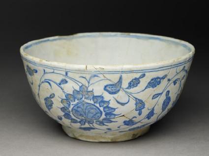Bowl with bird and peoniesoblique