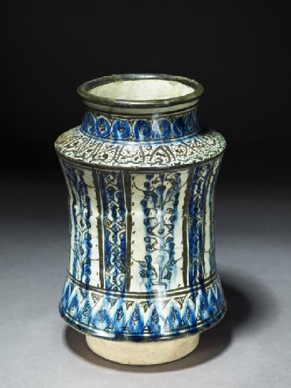 Albarello, or storage jar, with vegetal and epigraphic decorationoblique