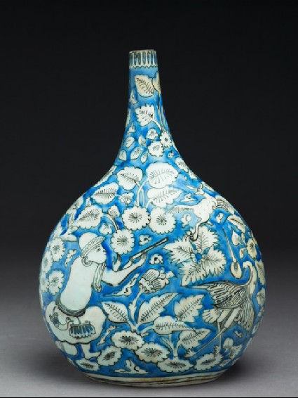 Flask with figures, animals, and leavesside