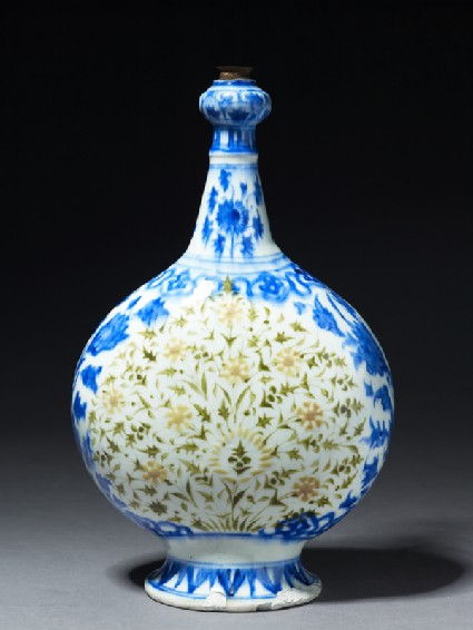 Bottle with polychrome floral decorationside