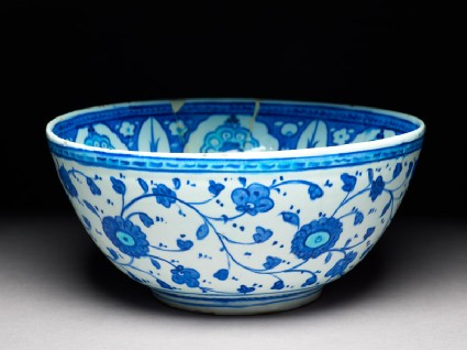 Bowl with six-pointed star, cypress trees, and prunus blossomoblique