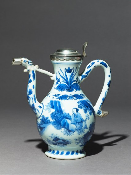 Blue-and-white ewer with European silver mountsside