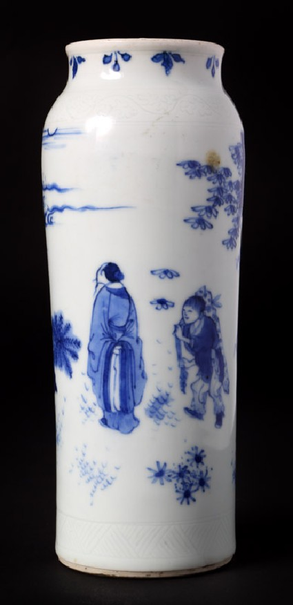 Blue-and-white vase with figures in a landscapefront