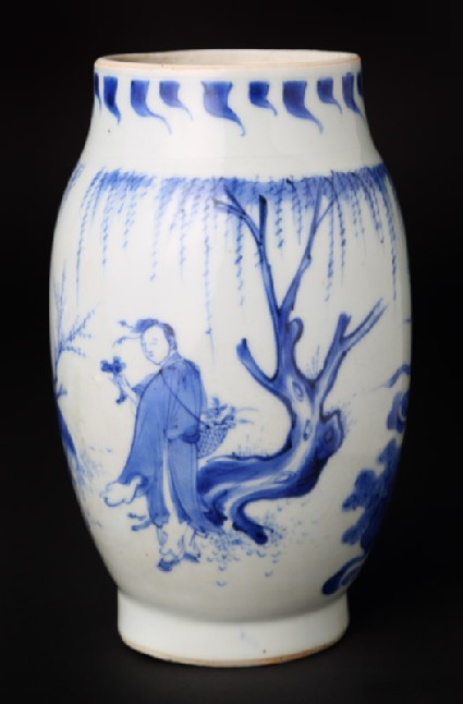 Blue-and-white jar with figure and deer in a landscapefront