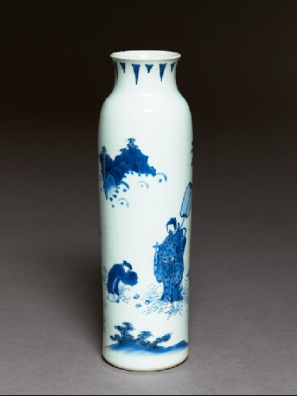 Blue-and-white vase with official and attendantsoblique