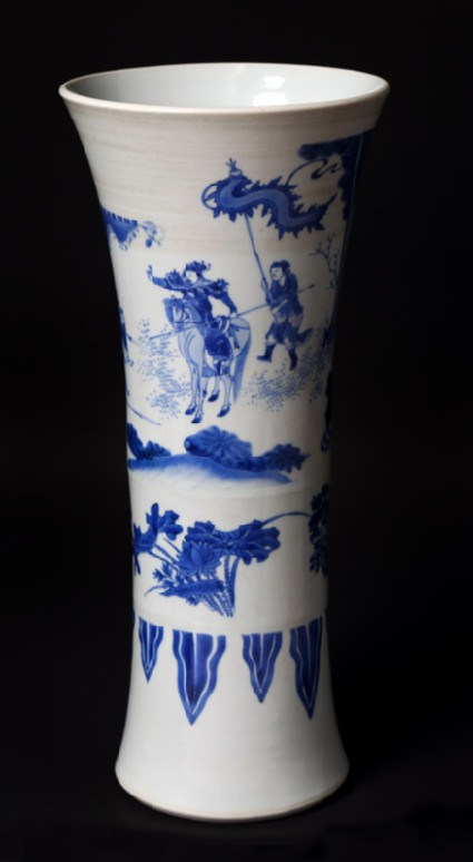 Blue-and-white beaker vase with warriors in a landscapefront