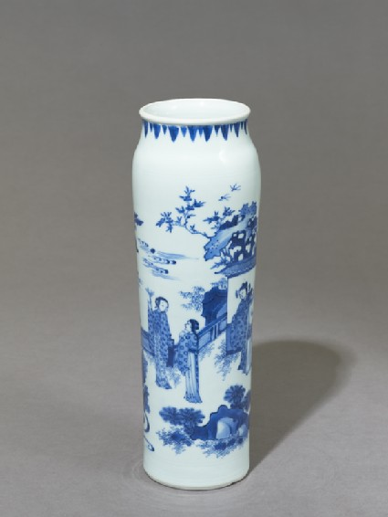 Blue-and-white vase depicting a scholar watching two womenoblique