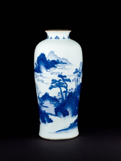Blue-and-white vase with cloudy landscapefront