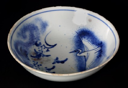 Blue-and-white bowl with crane and flowering branchesfront
