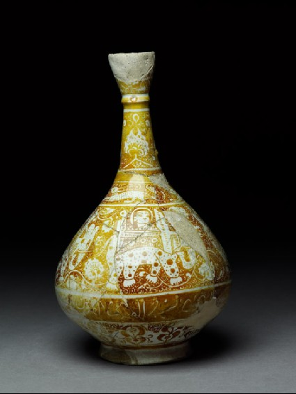 Bottle with elephants, hares, and naskhi inscriptionside