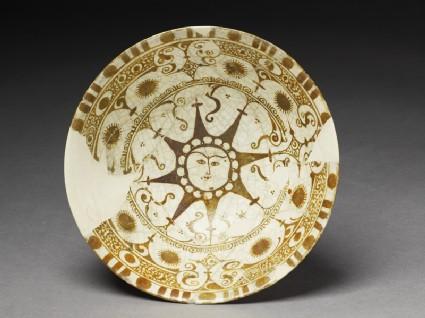 Bowl with human-faced suntop