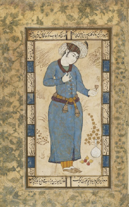 Page from a dispersed muraqqa', or album, depicting a courtier holding a wine cupfront