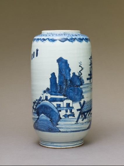 Jar depicting European-style houses on stiltsside