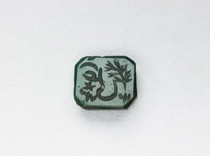 Octagonal bezel seal with nasta'liq inscription and branch decorationfront